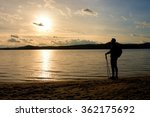 tall hiker in dark sportswear... | Shutterstock . vector #362175692