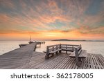 wood bridge in the port with... | Shutterstock . vector #362178005