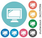 flat monitor icon set on round...