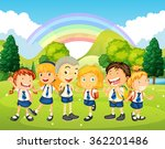 children in uniform standing in ... | Shutterstock .eps vector #362201486