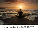 female sitting by the ocean at... | Shutterstock . vector #362213876