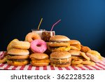multiple type of fast food on... | Shutterstock . vector #362228528