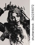 bw dynamic woman in leather... | Shutterstock . vector #362255072