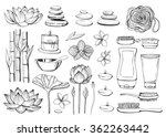 linear hand drawn spa and... | Shutterstock .eps vector #362263442