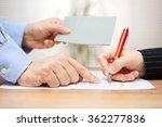 employer shows employee where... | Shutterstock . vector #362277836