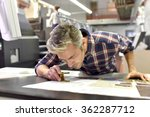 man working on printing machine ... | Shutterstock . vector #362287712