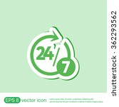 24 7 icon. open 24 hours a day... | Shutterstock .eps vector #362293562