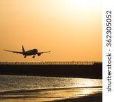 Small photo of Aircraft landing at airport