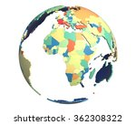 political globe with colored ... | Shutterstock . vector #362308322
