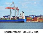 container stack and ship under... | Shutterstock . vector #362319485