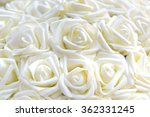 Stock photo white roses made of fabric in flower pots 362331245