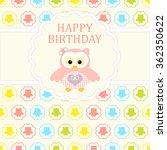 baby girl arrival card. baby... | Shutterstock .eps vector #362350622