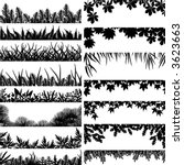 Selection of vector borders and foregrounds of various plants and trees - stock vector