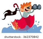 little captain in umbrella | Shutterstock .eps vector #362370842
