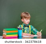 young student writes in a... | Shutterstock . vector #362378618