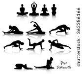 yoga position silhouette set | Shutterstock .eps vector #362386166
