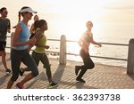 young people running along... | Shutterstock . vector #362393738