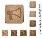 set of carved wooden megaphone...