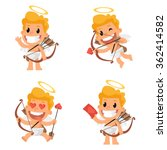Stock vector cupid mascot in various positions 362414582