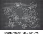 gears blueprint chalkboard... | Shutterstock .eps vector #362434295