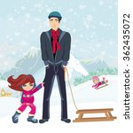 girl wants to ride on a sled | Shutterstock . vector #362435072
