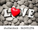 The Word Love With Red Heart O...