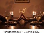 loving couple holding hands... | Shutterstock . vector #362461532