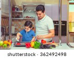 the father and the son cook food | Shutterstock . vector #362492498