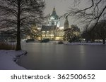 Stock photo hannover germany january rathaus hannover in winter at evening 362500652