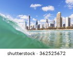blue waves breaking on surfers... | Shutterstock . vector #362525672