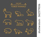 Vector Line Forest Animals Ico...