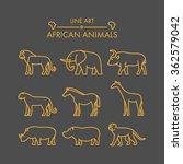 vector line african animals...