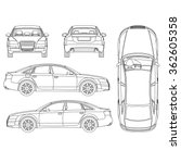 car line art  all view  four... | Shutterstock .eps vector #362605358