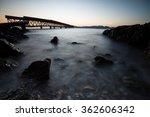 seascape with old steel bridge  | Shutterstock . vector #362606342