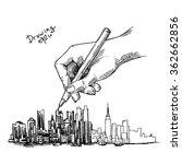 hand drawn new york sketch for... | Shutterstock .eps vector #362662856