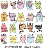 set of 20 vector doodle cute... | Shutterstock .eps vector #362676308