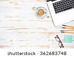 espresso next to a laptop and... | Shutterstock . vector #362683748