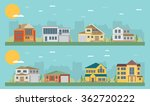colorful flat residential houses | Shutterstock .eps vector #362720222