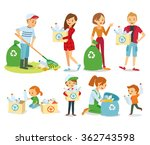 vector set of people gathering... | Shutterstock .eps vector #362743598