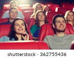 happy friends watching movie in ... | Shutterstock . vector #362755436