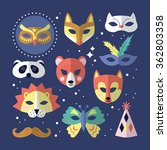 carnival masks flat stylish... | Shutterstock .eps vector #362803358