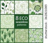 set of 8 seamless ecological... | Shutterstock .eps vector #362821085