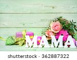 bunch of roses with a gift box... | Shutterstock . vector #362887322