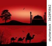 bedouin camel caravan in...
