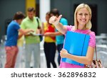happy students group study in... | Shutterstock . vector #362896832