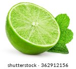 lime slice with mint leaves... | Shutterstock . vector #362912156