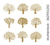 set of golden vector trees. | Shutterstock .eps vector #362931242