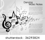 Black and White music template - stock vector