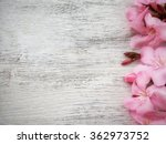 Pink Floral On White Wood...