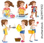 housewife doing different... | Shutterstock .eps vector #362997452
